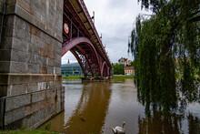 Monumental Bridge Over The River In Maribor, Slovenia