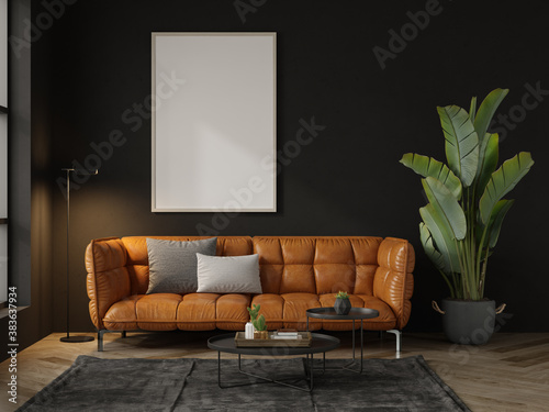 Fototapeta Mock up poster in black interior room 3d illustration obraz
