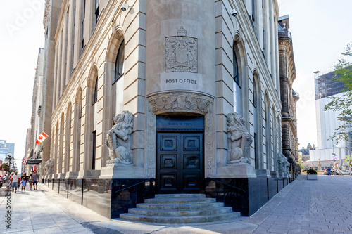 Ottawa, On, Canada - August 8, 2020: Central Post Office is shown in Ottawa, Ontario, Canada on August 8, 2020, a historic building is currently home to offices for the Privy Council of Canada.