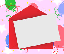 Red Envelope With Note Means Romantic Correspondence Or Love Let