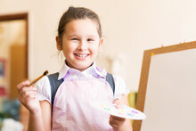 Portrait Of Asian Girl In Apron Painting