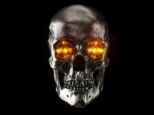 Metallic Skull With Red Hot Bu...
