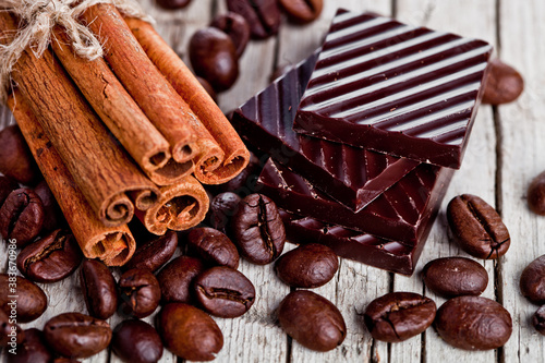 chocolate sweets, cinnamon and coffee beans