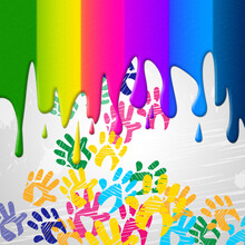Color Handprints Represents Childhood Multicoloured And Colors