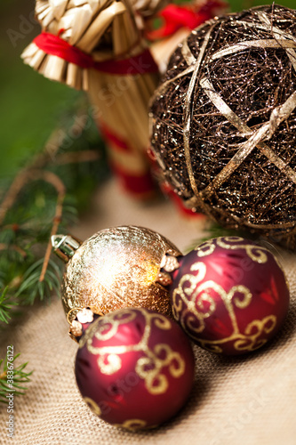 Christmas background with baubles and craft