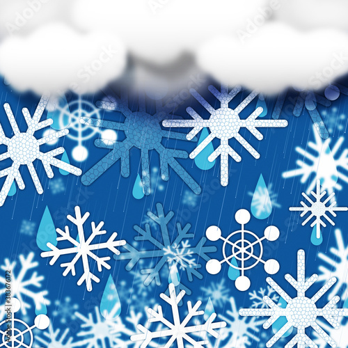 Blue Snowflakes Background Shows Snow Cloud And Snowing,