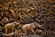 Thailand Wooden Carving Of Ele...