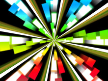 Wheel Background Shows Multicolored Rectangles And Spinning,
