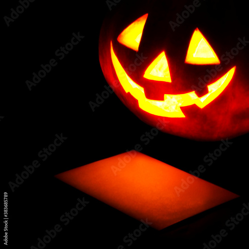 Halloween pumpkin and card