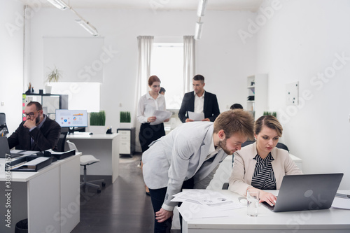 Internship of a new employee at the workplace Canvas Print