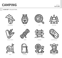 Camping Icon Set,outline Style...