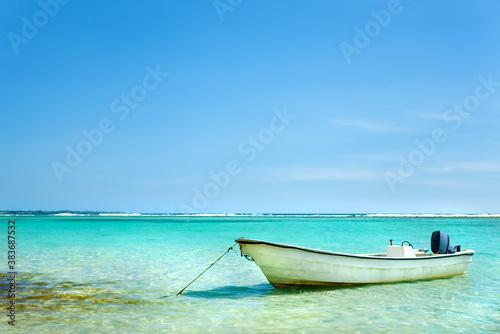 Sailbote anchored in Caribbean sea