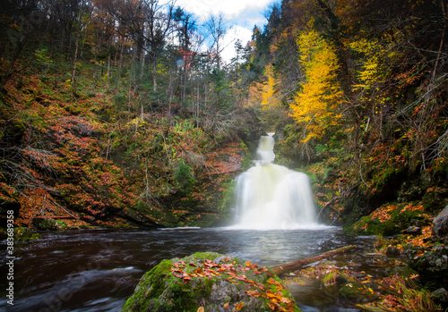 Gushing water fall in an autumn forest landscape with dense trees, Cape Breton Fototapet