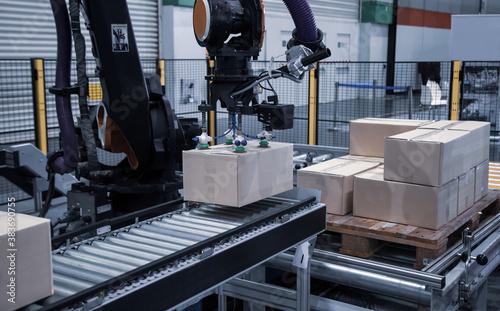 Industrial robotic loading carton Fototapet