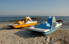 Blue And Yellow Pedalos
