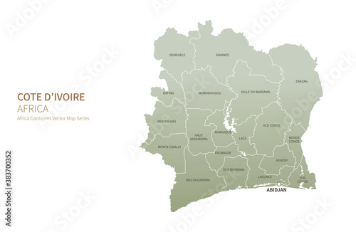 Fotografie, Tablou Cote D'ivoire map. vector map of african countries.