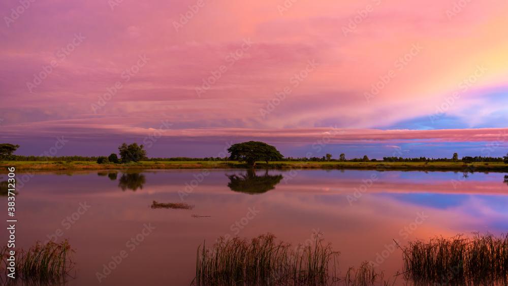 Fototapeta Beautiful twilight sky with nature  green field.