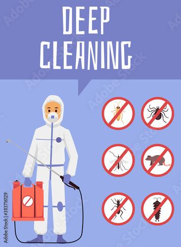 Deep cleaning pest control service poster, flat cartoon vector illustration