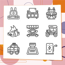 Simple Set Of 9 Icons Related To Compartment