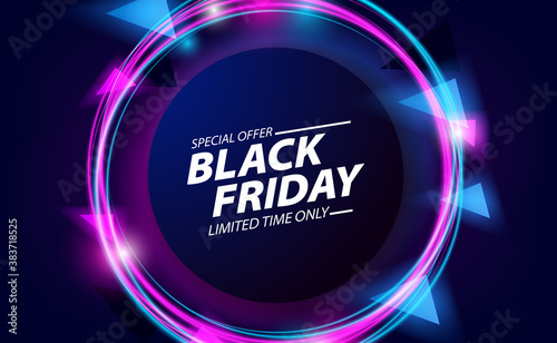 Black friday sale offer banner with round circle with neon color and bright glowing effect