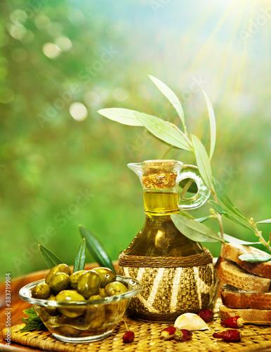 Olives in morning garden