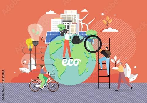 Obraz Green eco city, alternative energy sources, people taking care of planet Earth, riding bike, flat vector illustration. - fototapety do salonu