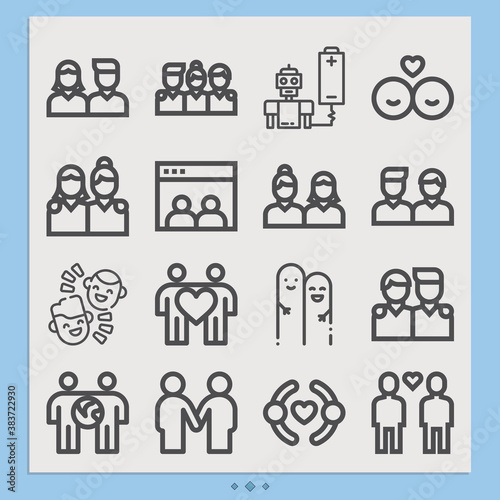 Simple set of acquaintances related lineal icons. Canvas Print