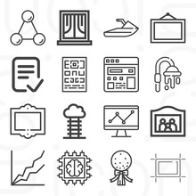 16 Pack Of Pilot  Lineal Web Icons Set