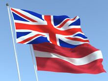 The Flags Of United Kingdom And Latvia On The Blue Sky. For News, Reportage, Business. 3d Illustration