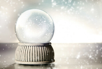 Snow globe against a silver background