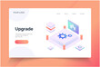 Upgrade isometric. landing page vector template