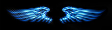 Neon Glowing Abstract Blue Angel Wings. Isolated, Strewn With Sparks On Dark, Black Background. Happy Valentines Day, Attributes. Vector Illustration