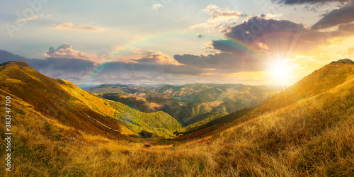 Obraz na plátně mountain landscape in autumn at sunset
