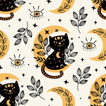 Seamless Pattern With Magic Eye And Black Cat On The Moon