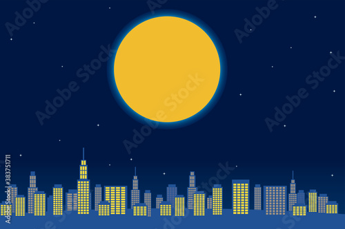 Fototapeta 大都市の高層ビル群と夜空とビッグムーン満月の背景イラスト ベクター
