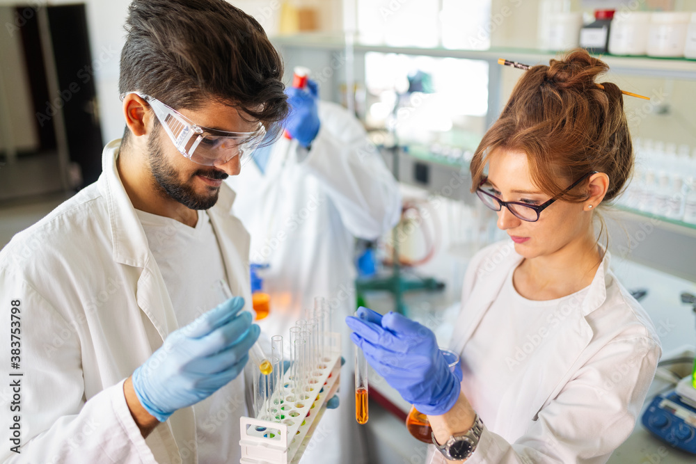 Fototapeta Group of medical research scientists collectively working in laboratory