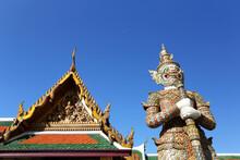 Giant At Wat Pra Kaew And Grand Palace In Bangkok Of Thailand