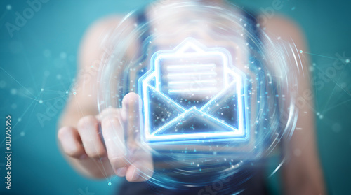 Fotografía Woman using digital email blue holographic interface 3D rendering