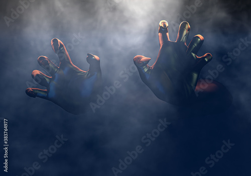Foto Scary hands from dark, frightening monster hand in fog, Halloween horror concept