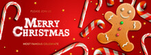 Horizontal Christmas Banner, Greeting Cards, Headers, Website. Vector Illustration With Christmas Candy Cane And Gingerbread Man