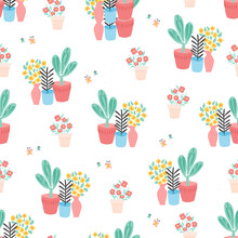 Plant Pots Seamless Pattern. Repeating Background With Potted Plants And Butterflies Flat Scandinavian Style. Cute Room Plants Design. Use For Spring, Summer, Novelty Fabric, Wallpaper, Wrapping