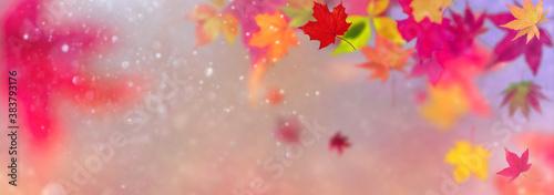 Cuadros en Lienzo Farbenfrohes abstraktes Banner / Header Konzept Herbst- Herbstlaub fliegt vor un