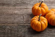 Beautiful Mini Pumpkins On Woo...