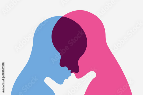 Fototapeta Unity and empathy concept illustration Human heads intersecting each other