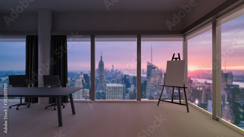 Fotografering Stylish office room with blurred evening cityscape view in windows, photorealistic 3D Illustration of the interior, suitable for using in  video conference and as a zoom background