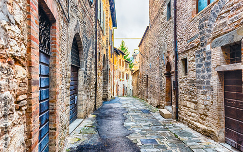 Scenic streets of the medieval town of Gubbio, Umbria, Italy