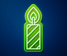 Glowing Neon Line Birthday Cake Candles Icon Isolated On Blue Background. Vector.