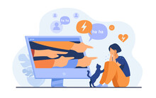 Social Media Bullying. Haters Pointing Fingers Frim Monitor At Victim, Laughing At Crying Girl. Flat Vector Illustration For Hate, Violence, Stress, Online Abuse Concept