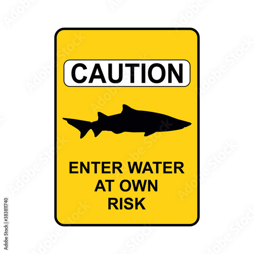 shark warning sign Wallpaper Mural