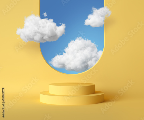 Fototapeta 3d render, abstract background with blue sky inside the window on the yellow wall. White clouds fly inside the room with vacant podium. Blank showcase mockup with empty round stage obraz